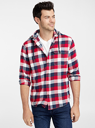Hooded check flannel shirt  Modern fit