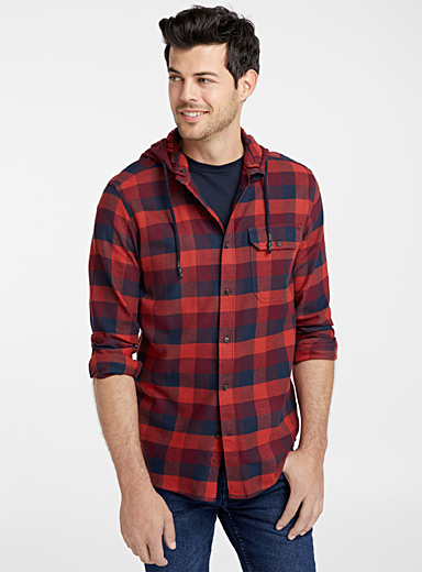 Hooded check organic flannel shirt  Modern fit