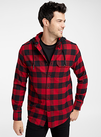 Hooded check flannel shirt <br>Modern fit