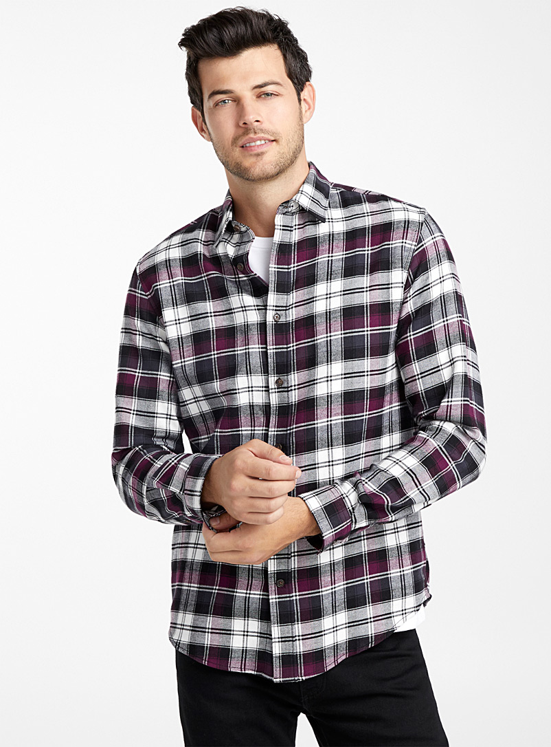 Check flannel organic cotton shirt  Modern fit - Checks - Black