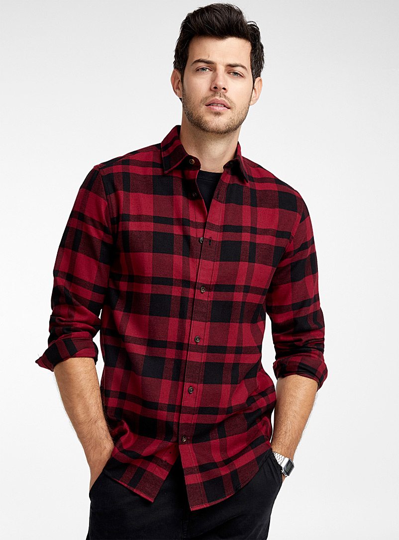 Check flannel organic cotton shirt  Modern fit - Checks - Red