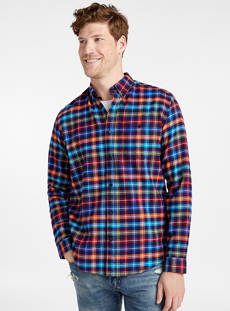 Rustic check flannel shirt  Comfort fit - Checks - Patterned Blue