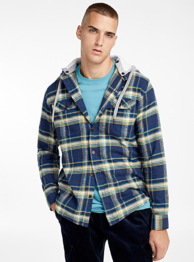 Organic cotton hooded check shirt