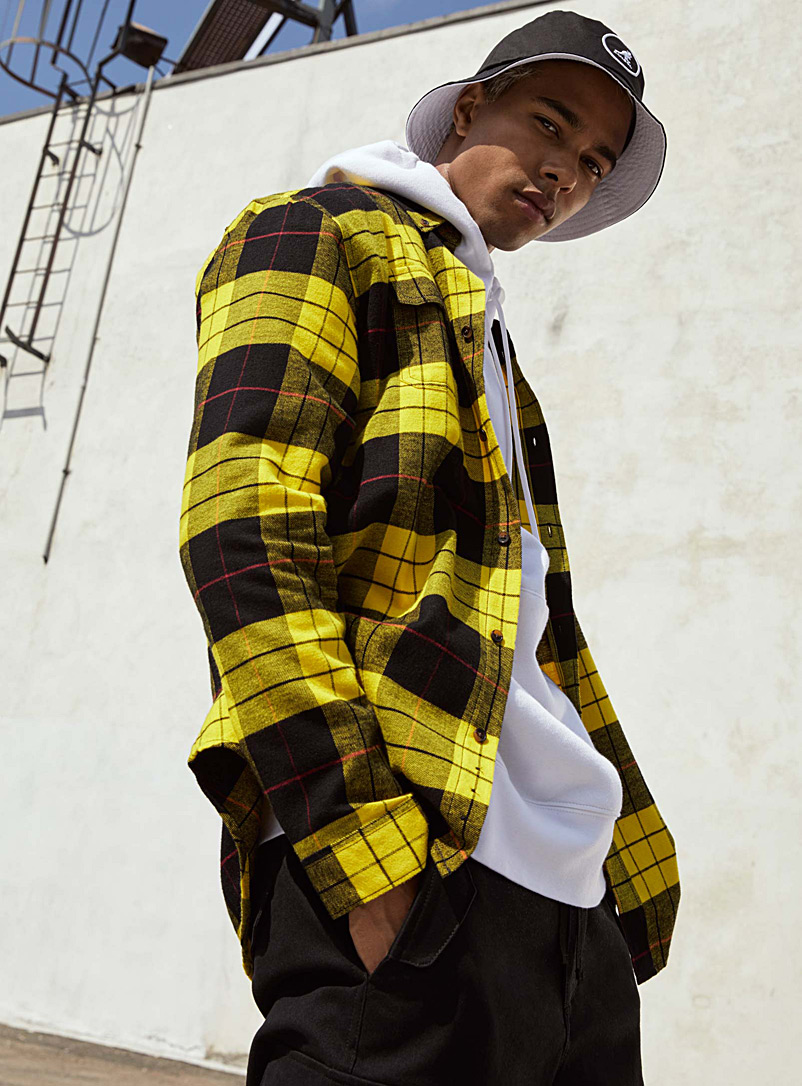 Djab Golden Yellow Check-flannel organic cotton shirt for men