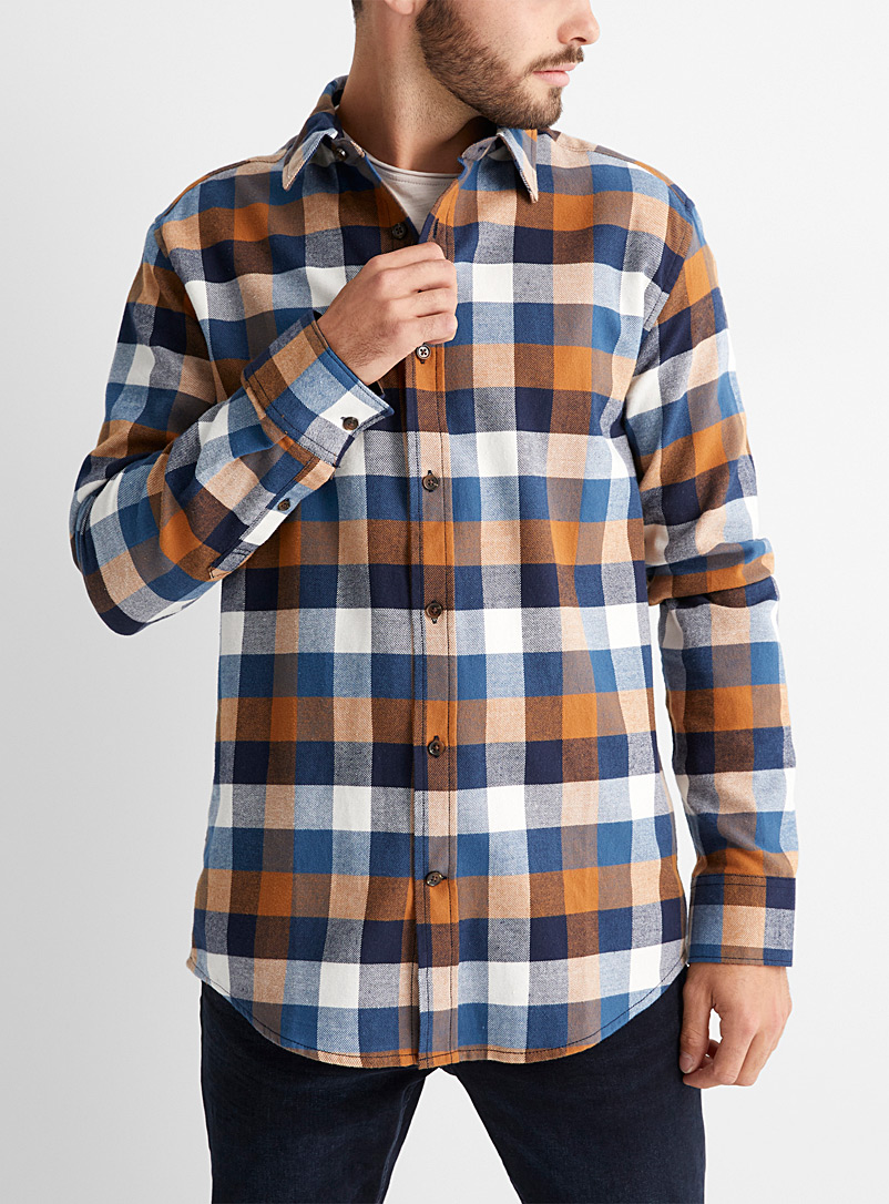 Le 31 Blue Plaid flannel shirt  Modern fit for men