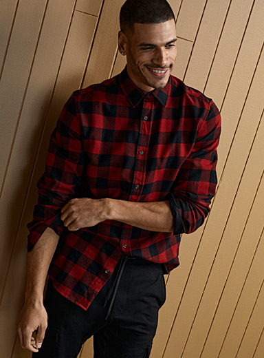Le 31 Red Plaid flannel shirt  Modern fit for men