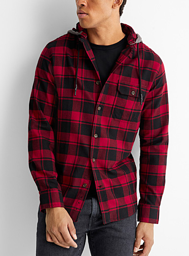 Le 31 Red Hooded check flannel shirt  Modern fit for men