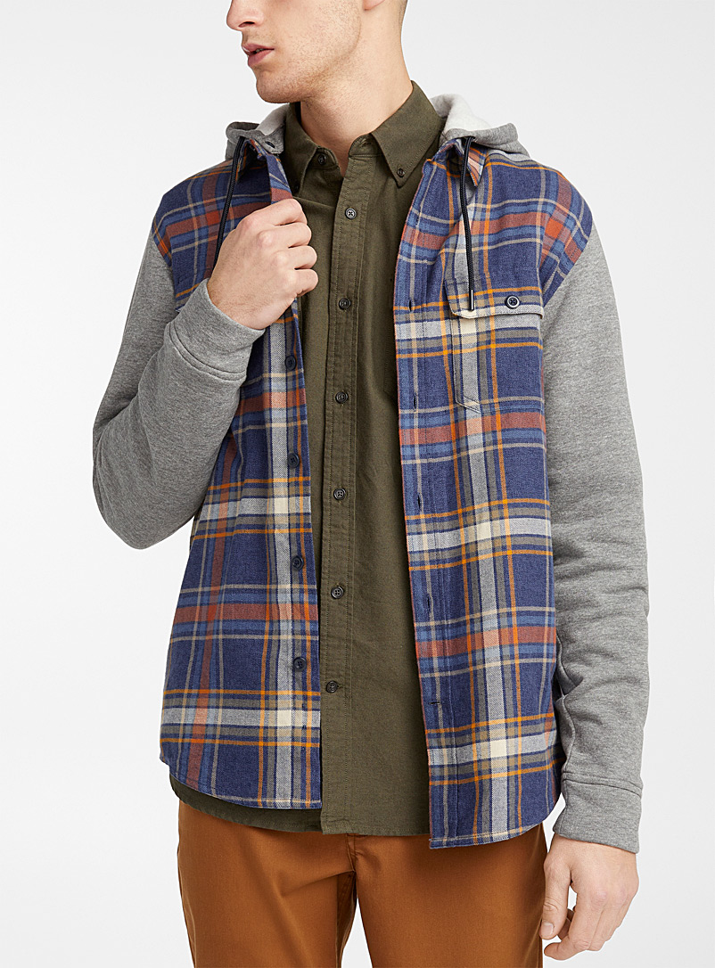 Djab Blue Plaid organic cotton fleece shirt for men