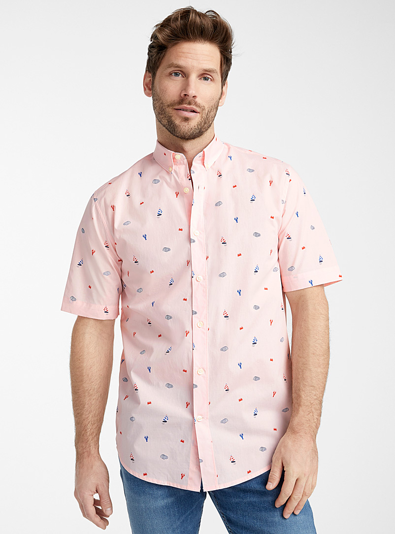 Le 31 Pink Lovely pattern organic cotton shirt  Modern fit for men