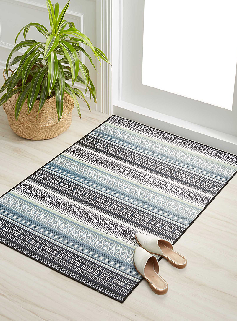 Simons Maison Patterned Grey Soft mint stripe rug  90 cm x 130 cm