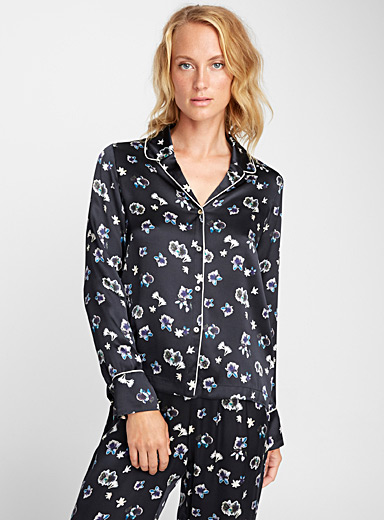 Exotic flowers silk blouse