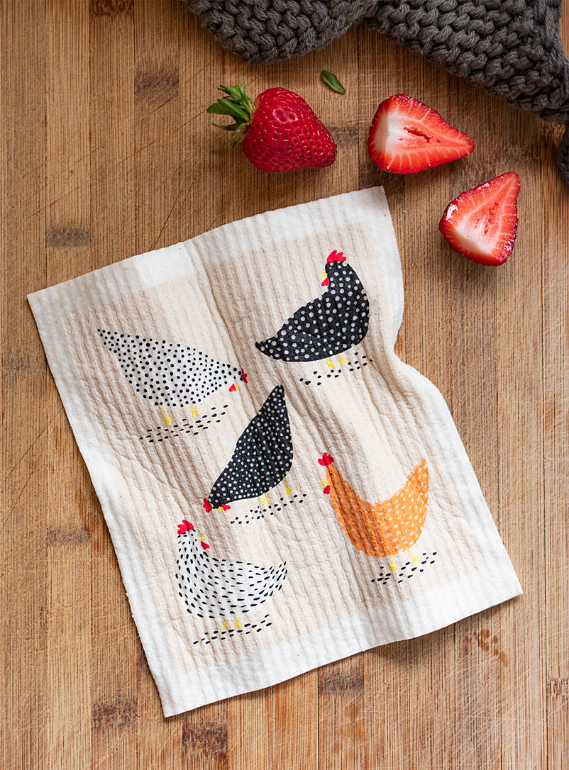 Simons Maison Assorted Hens sponge cloth