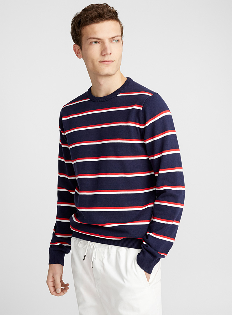 Le pull rayures vacances - Cols ronds - Marine