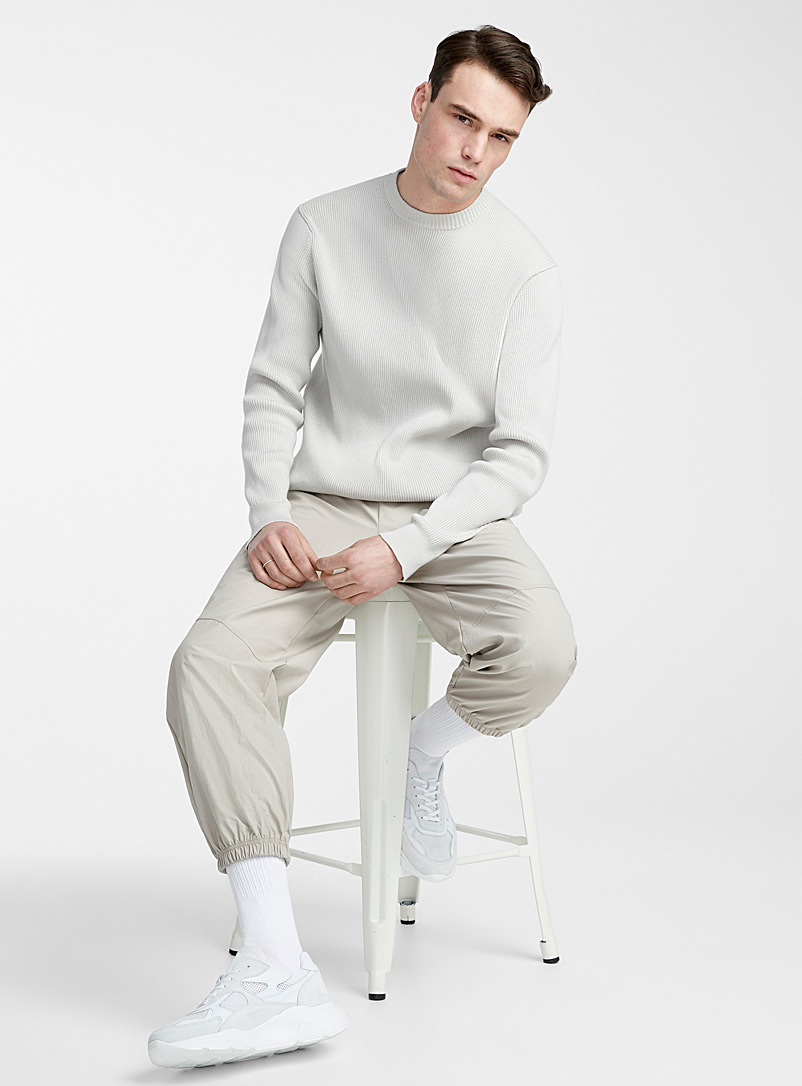 Le 31 Grey Amplified raised ribbing sweater for men