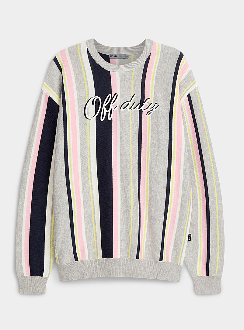 Djab Pink Embroidered message striped sweater for men