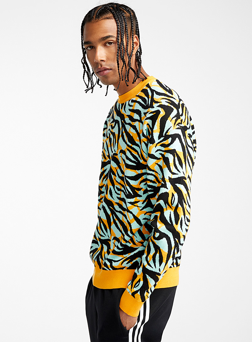 Djab Patterned Yellow Eclectic pattern sweater for men