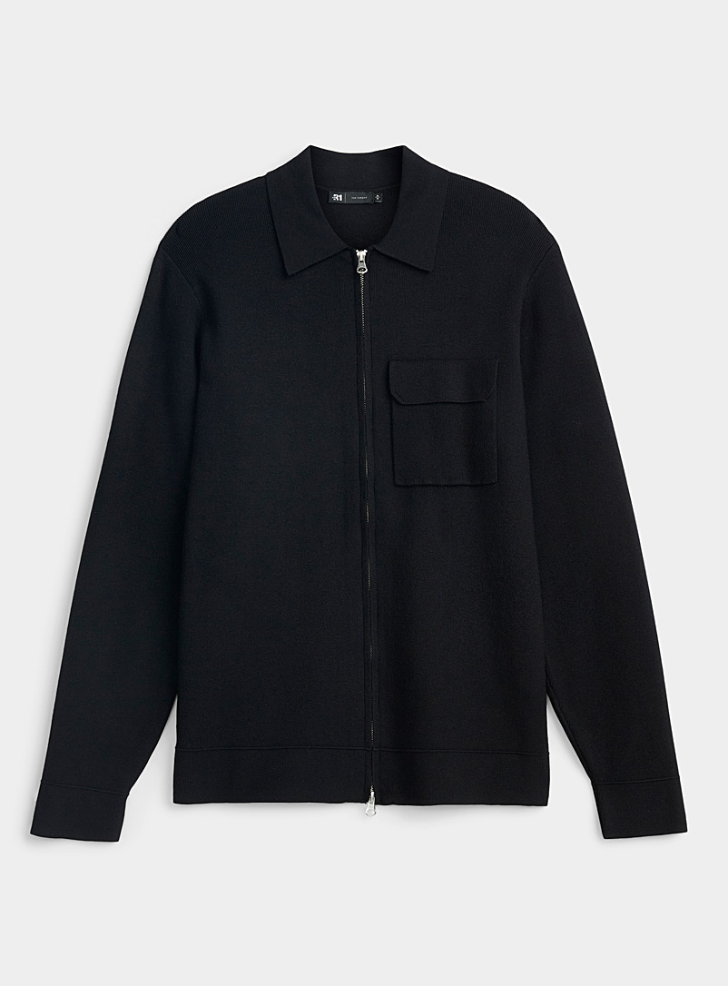 Polo-collar zip cardigan