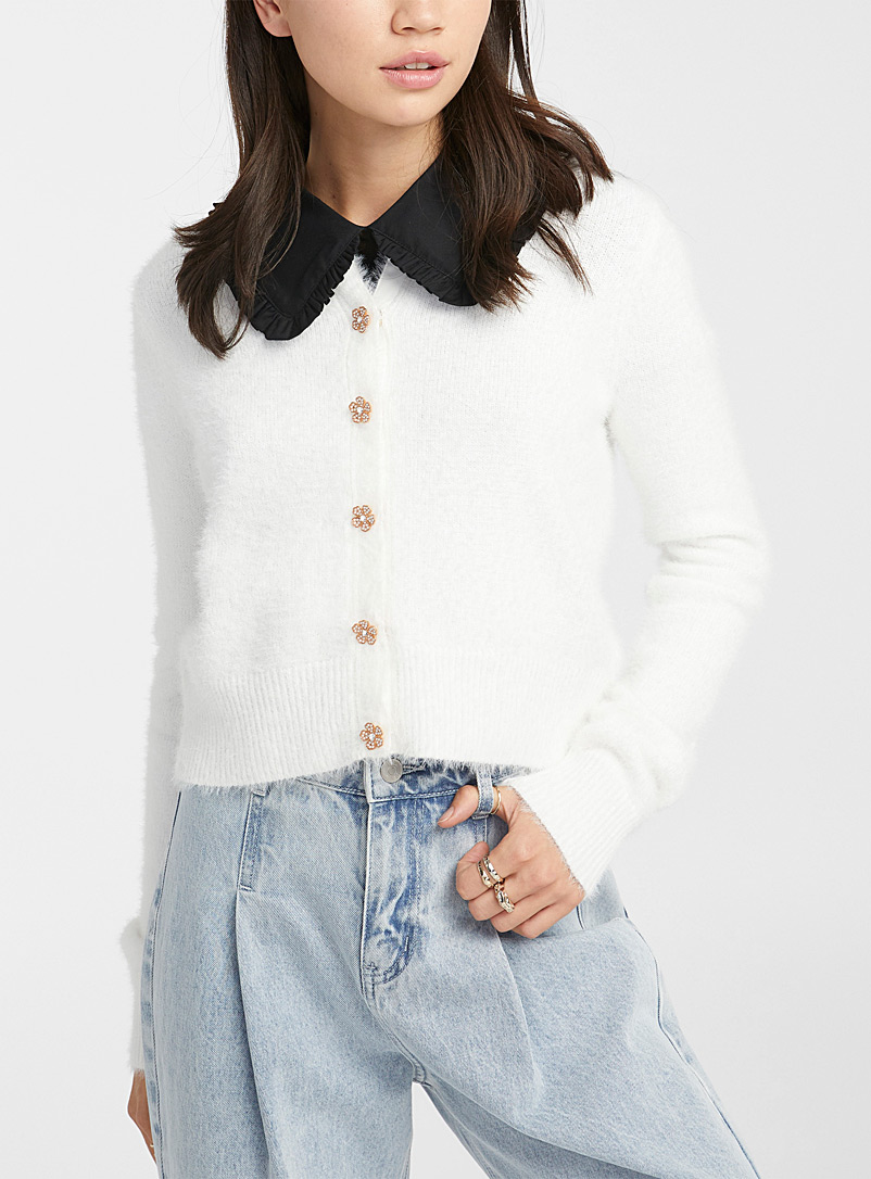 Twik Ivory White Jewel-button fuzzy cardigan for women