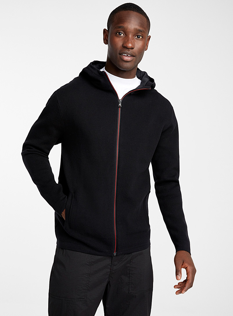 Le 31 Black Hooded piqué knit cardigan for men