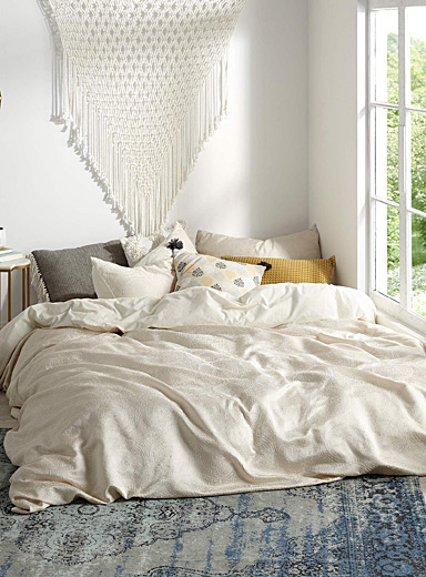 Tile jacquard duvet cover set