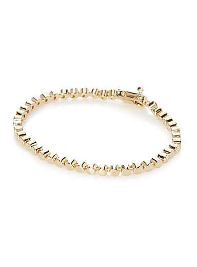 Golden cylindrical-link bracelet