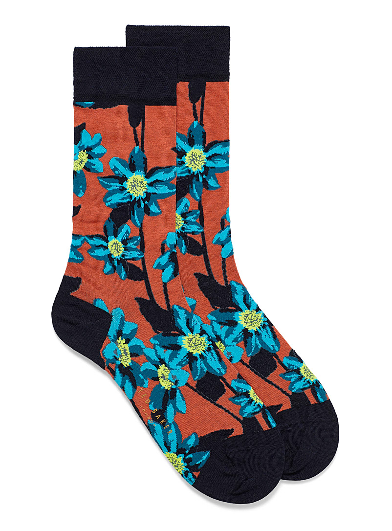 Ted Baker Copper Neon floral dress socks for men