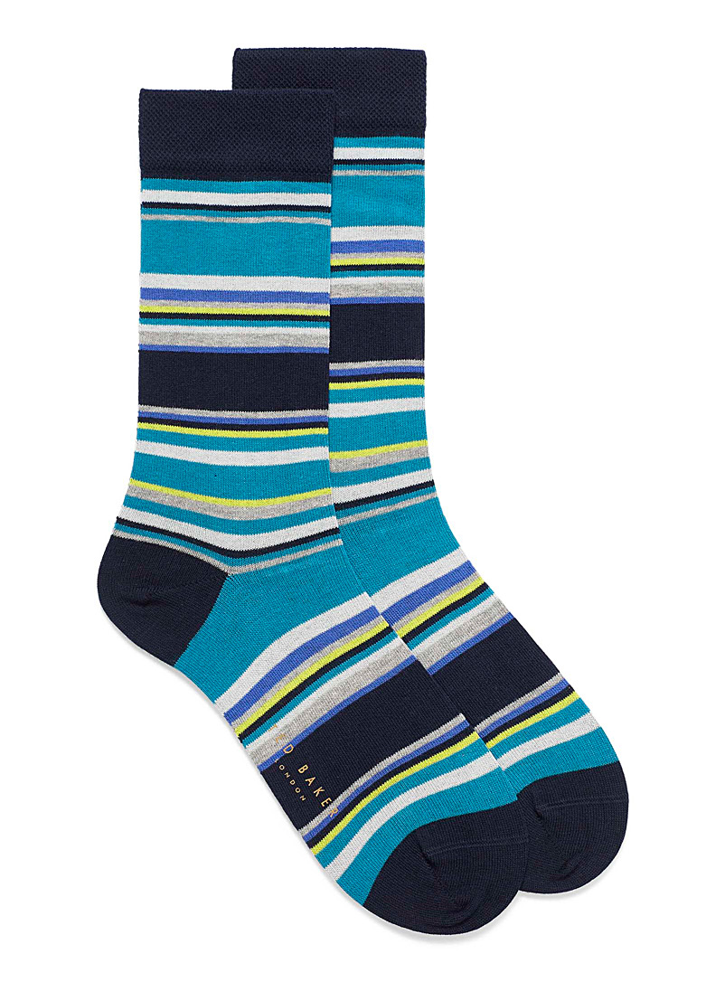 Ted Baker Teal Neon and blue stripe dress socks for men