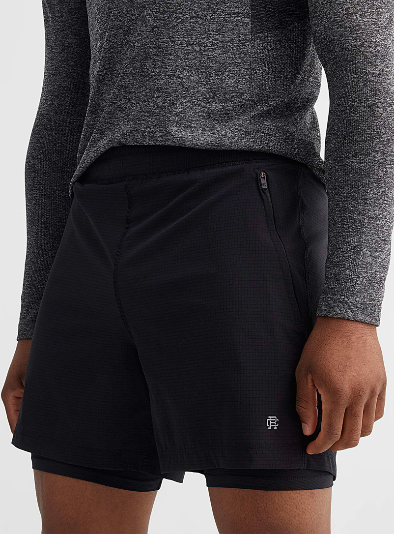 Reigning Champ Black Dot Air stretch nylon short over bike short for error