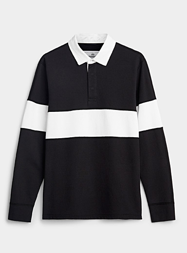 Reigning Champ Black and White Minimalist rugby polo for men