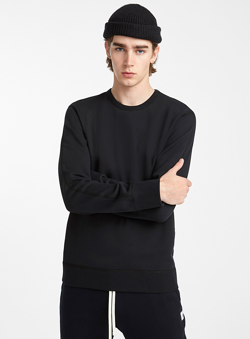 Reigning Champ Black Crew neck heather sweatshirt for men