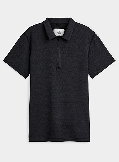 Micro-perforated zip polo