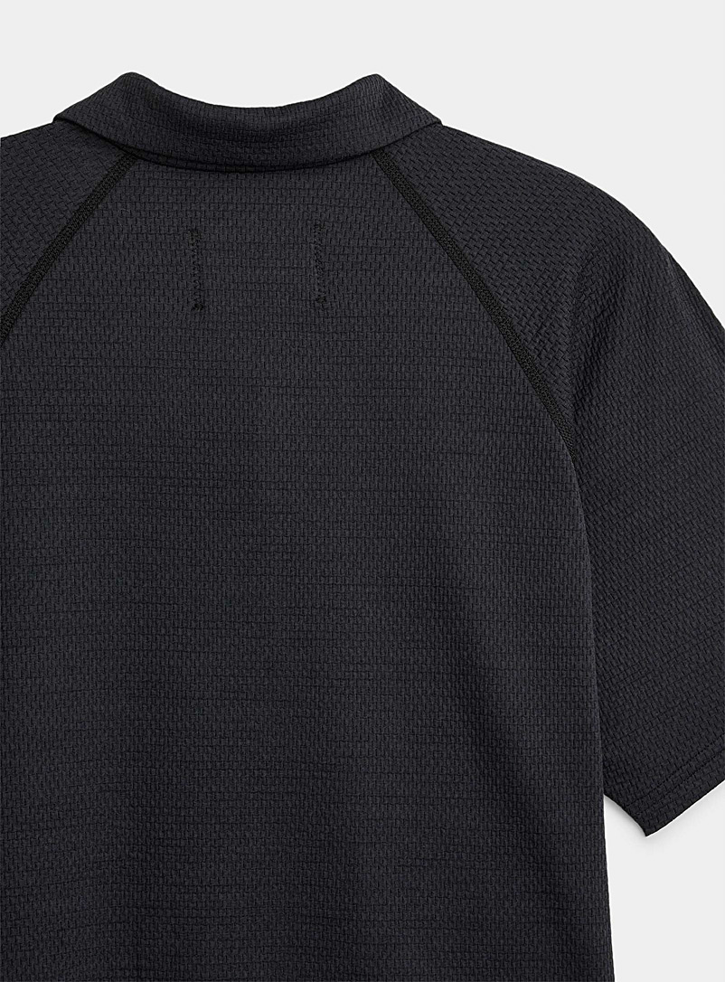 Reigning Champ Black Micro-perforated zip polo for men