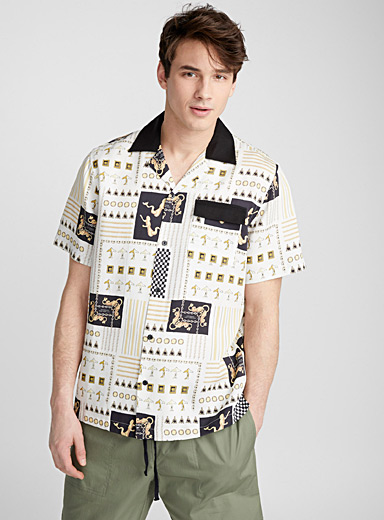 Baroque scarf print camp shirt