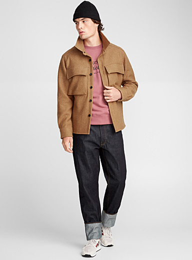 Boiled wool utility jacket