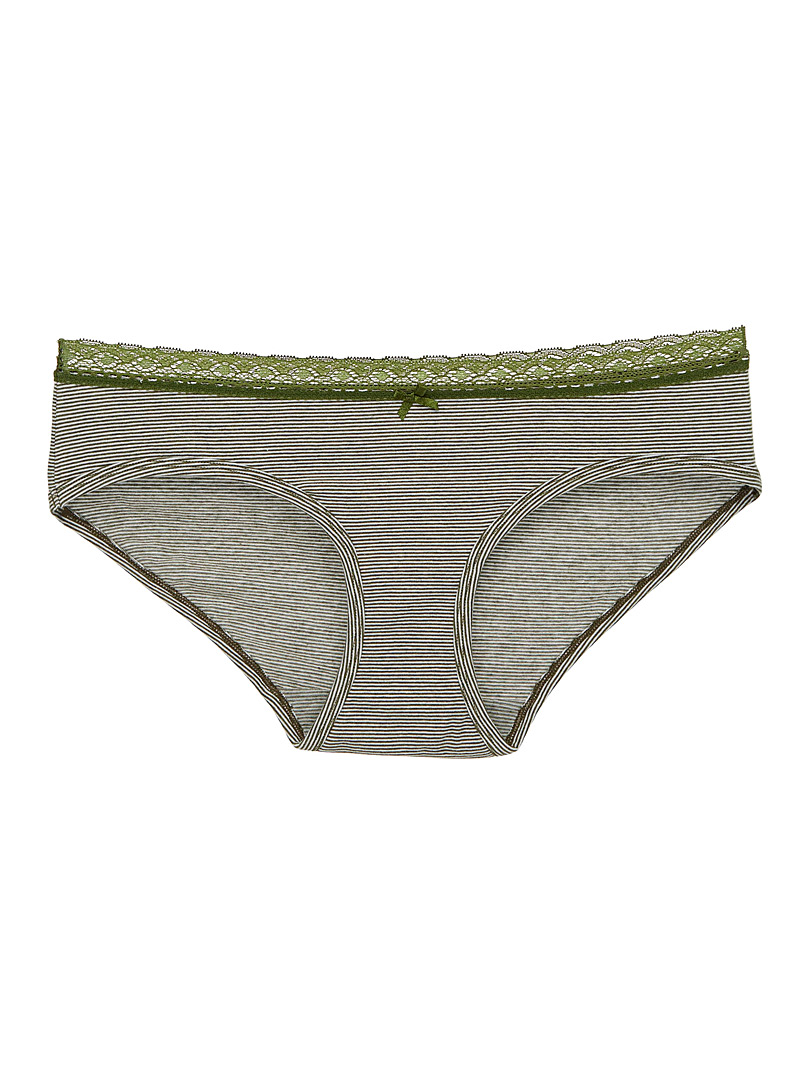 Lace trim marled stripe hipster - Buy More, Save More - Khaki