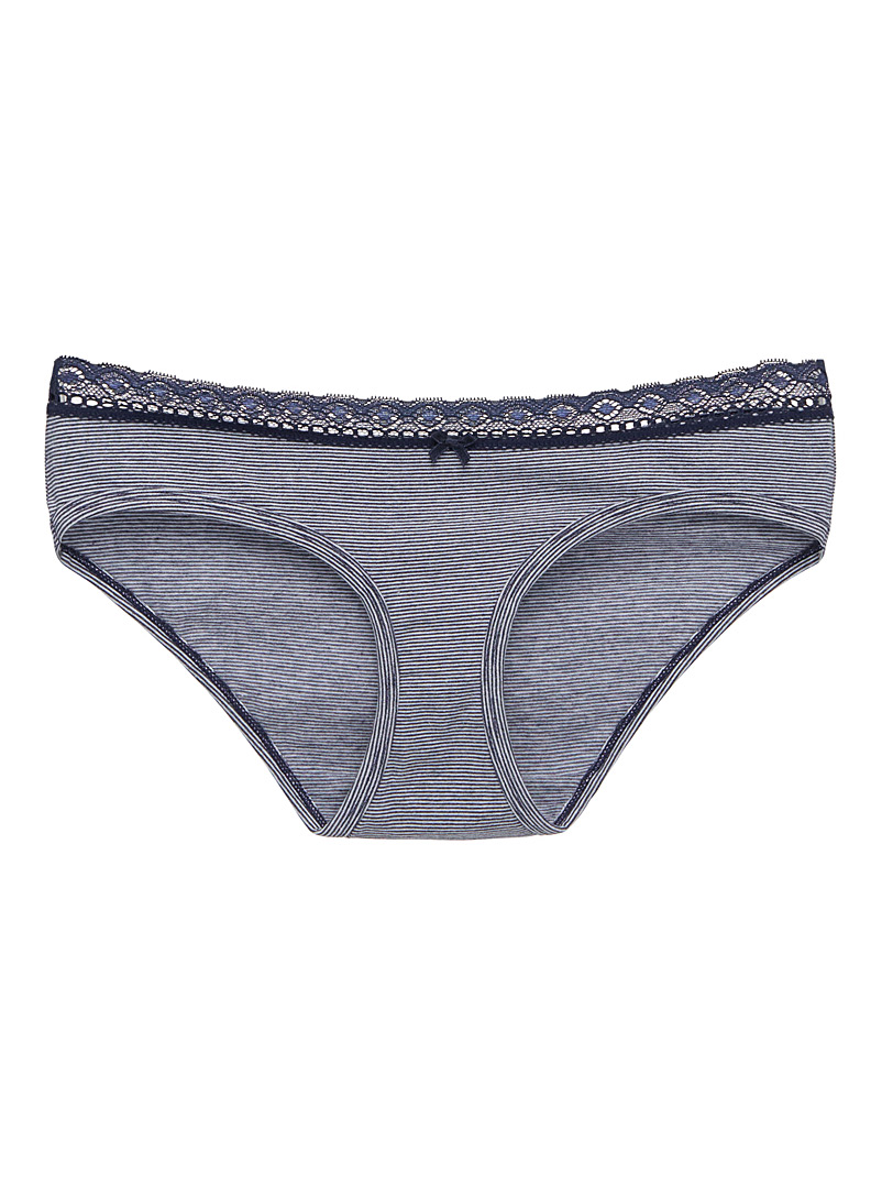 Lace trim marled stripe hipster - Buy More, Save More - Marine Blue