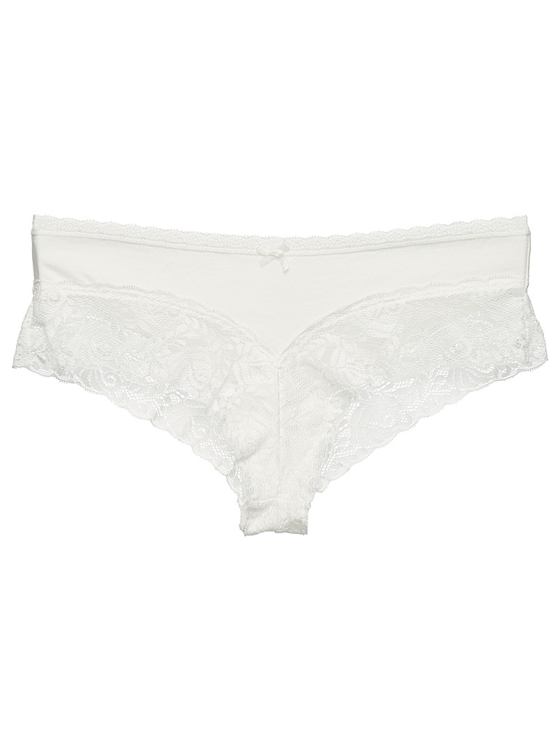 Miiyu Ivory White Organic cotton and lace Brazilian panty for women