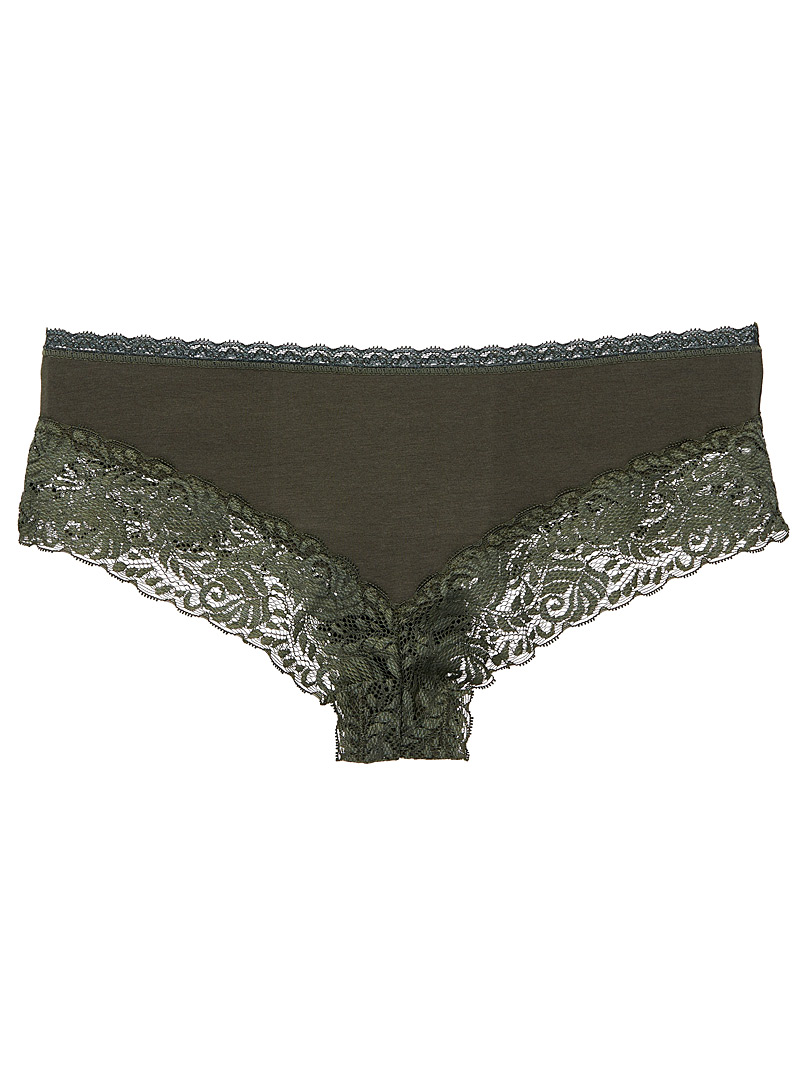 Cotton and lace Brazilian panty - Buy More, Save More - Green