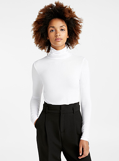 Soft jersey knit turtleneck