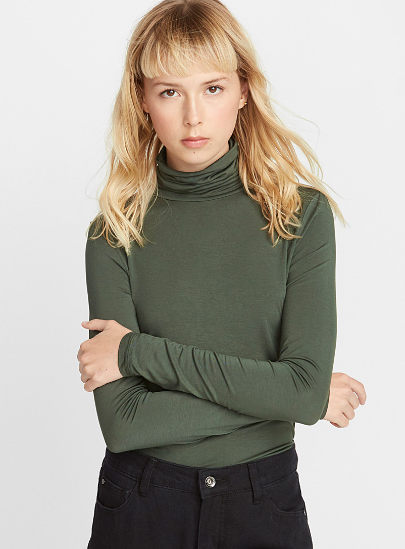 Ic?ne Mossy Green Soft jersey knit turtleneck for women