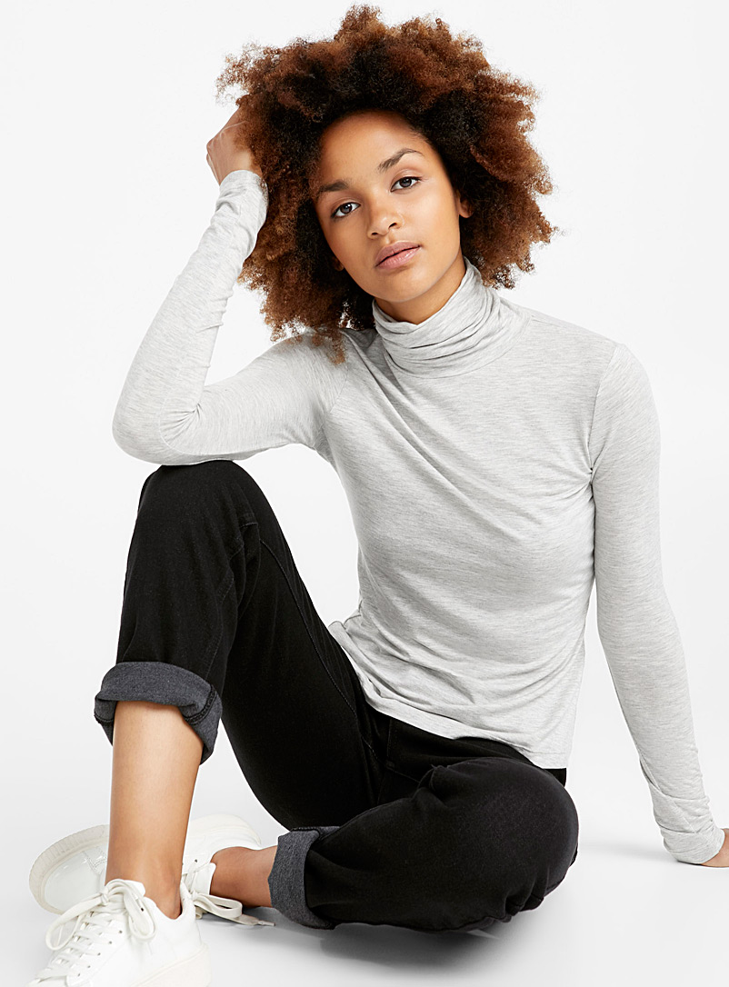 Icône Grey Soft jersey knit turtleneck for women