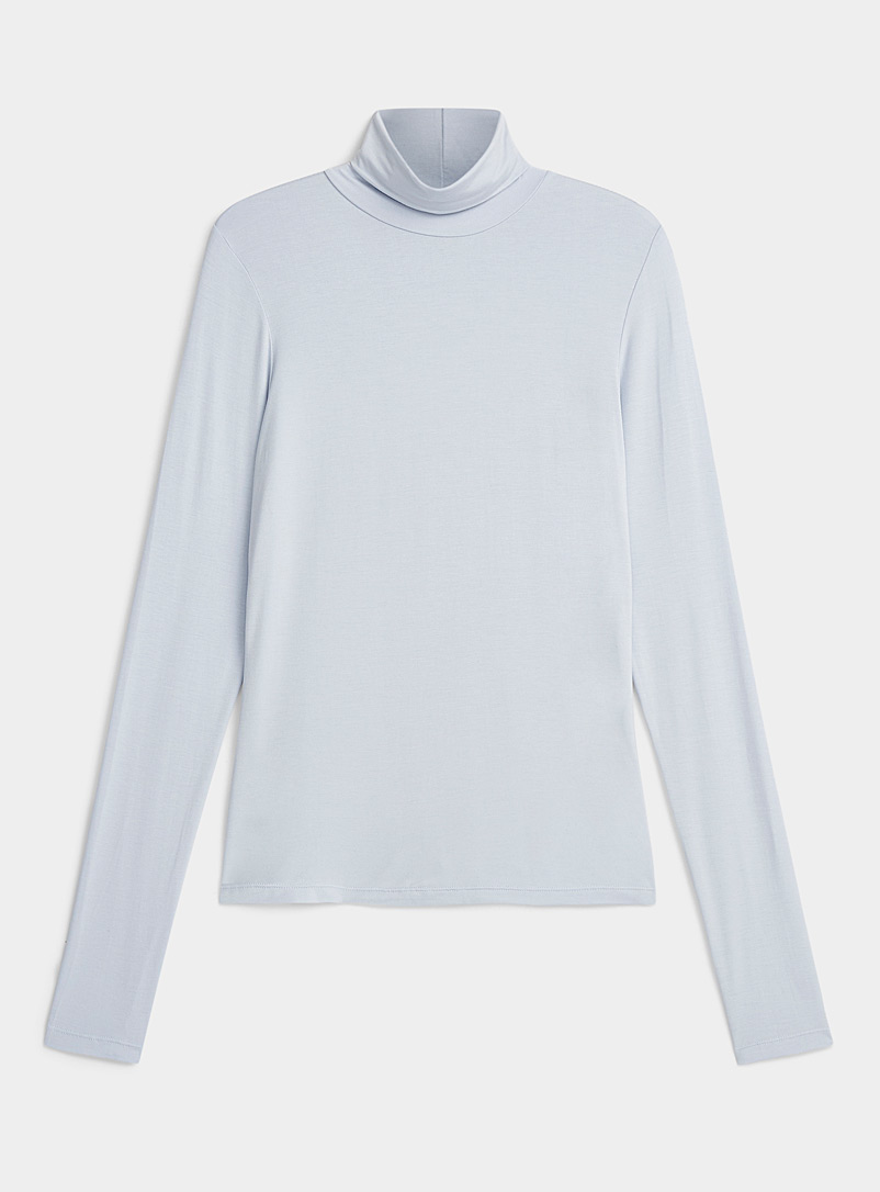 Icône Baby Blue Soft jersey knit turtleneck for women