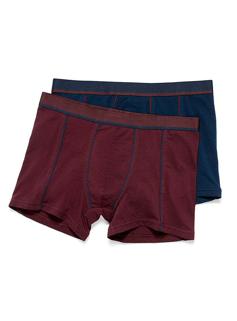 Le 31 Cherry Red Trimmed organic cotton boxer brief  2-pack for men