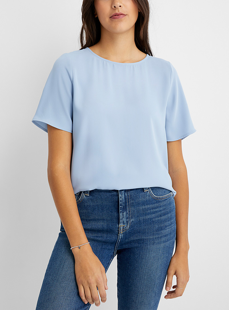 Contemporaine Baby Blue Loose round-neck blouse for women