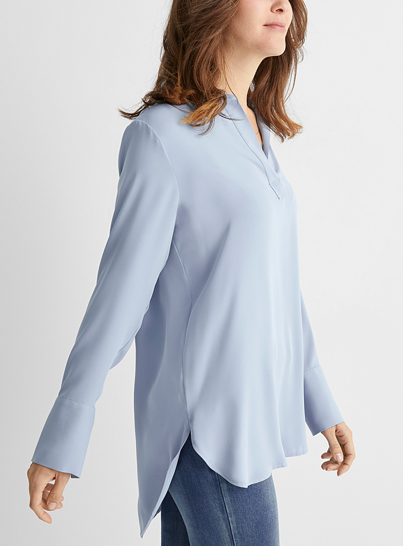Contemporaine Baby Blue Fluid Johnny-collar tunic for women