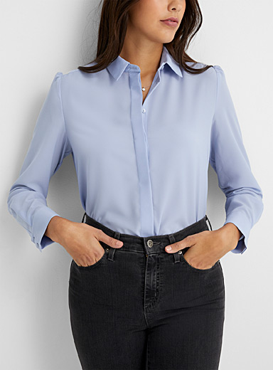 Contemporaine Lilacs Silky ruched-shoulder shirt for women