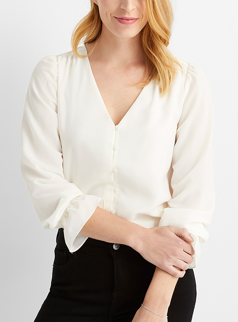 Silky flared-cuff blouse