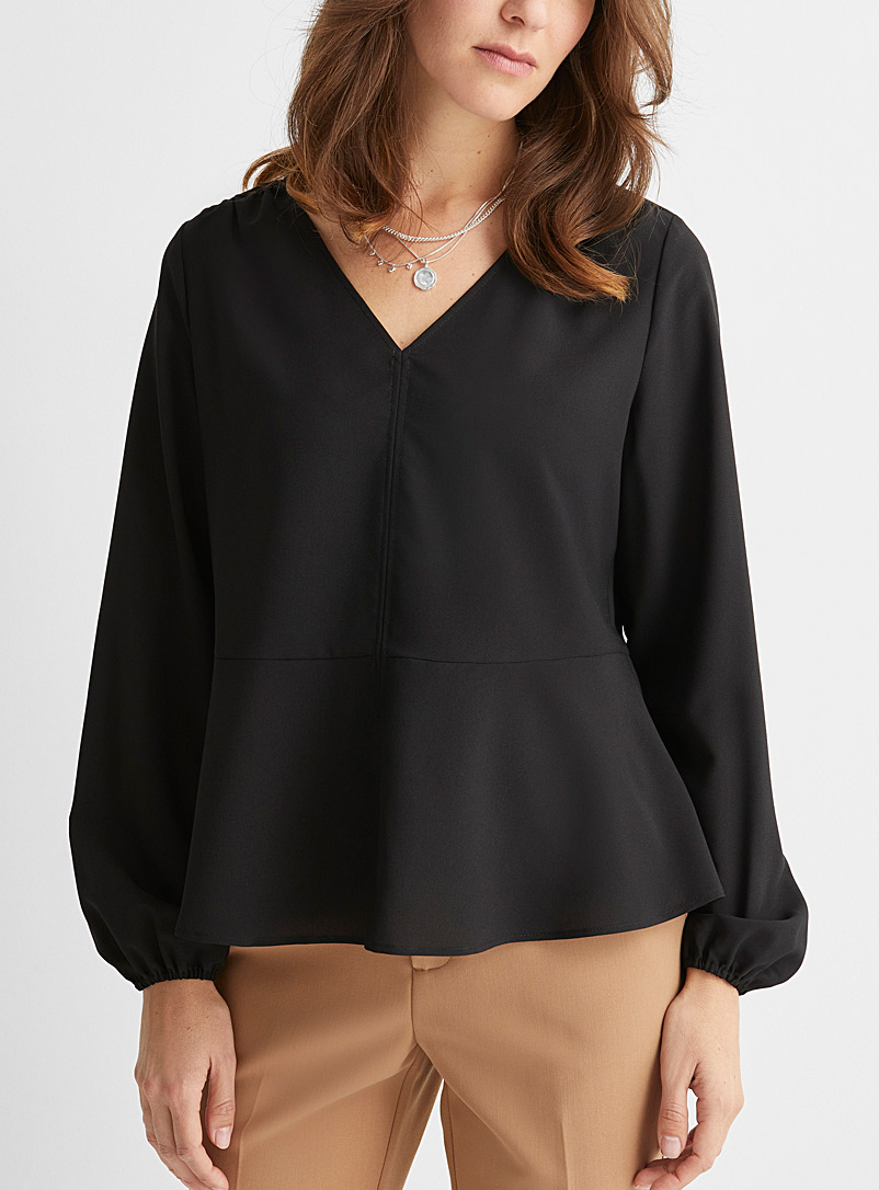Recycled crepe peplum blouse