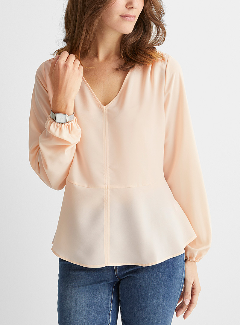Contemporaine Tan Recycled crepe peplum blouse for women