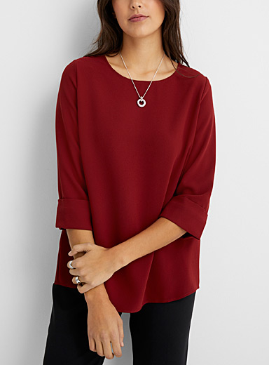 Contemporaine Ruby Red Loose cuff-sleeve blouse for women